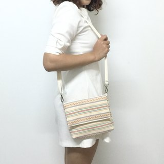 MINIxROSE ethnic white thick toast bag / Crossbody / shoulder bag / Free printing name Paper superscript