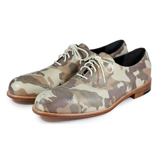 Spurge Laurel M1124 Camo Grey leather oxford shoes