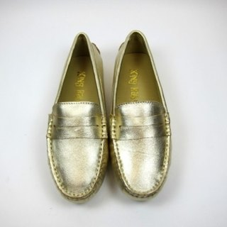 Fort Tony Wang handmade leather shoes (female) [sheep / bean bottom / Gold]