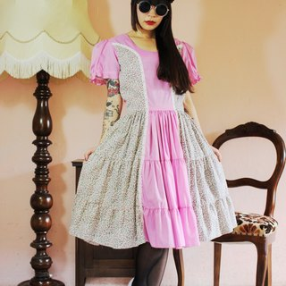 F1026 (Vintage) pink stitching floral lace trim skirt big wave vintage dress (wedding / picnic / party)