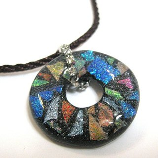 Black colorful glass ring glass jewelry necklace (in)