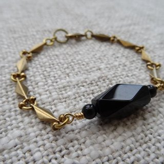 ::The One:: Black Onyx Faceted Barrel Shaped Bead Brass Bracelet