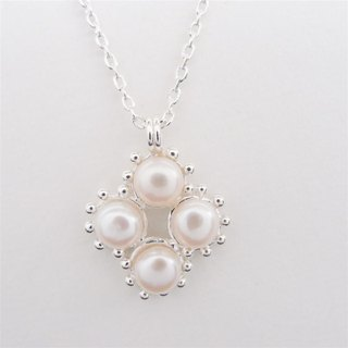 Silver diamond pearl necklace