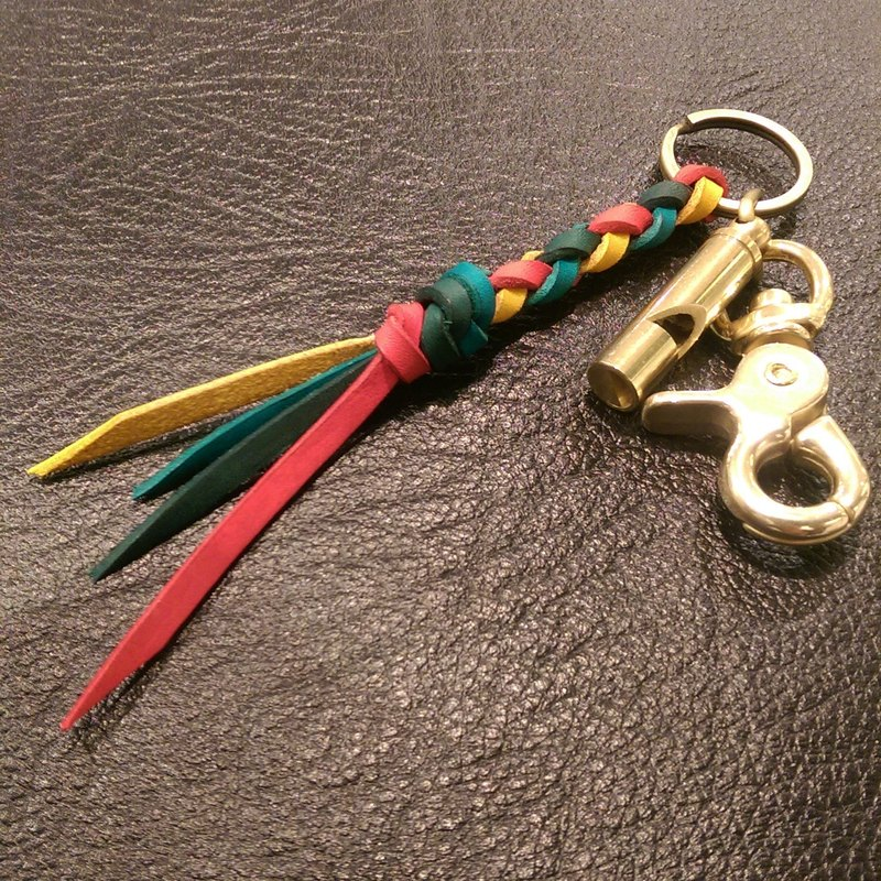 Hand-woven brass whistle keyring hook attached copper (free printing)