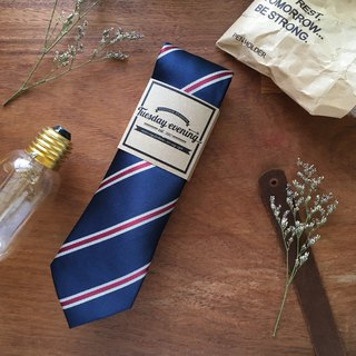 Neck tie Red-Silver-Navy Stripe