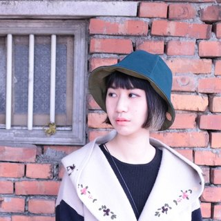 JOJA│ x light green dark green leather texture custom double-sided flower-shaped cap