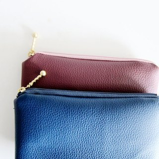 Lychee leather models simple artificial leather leather zipper bag / purse / mobile phone sets