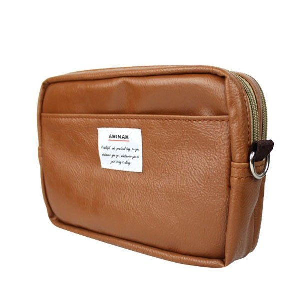 AMINAH-棕色皮革兩用隨身小包 腰包/肩背包(大)【am-0265】
