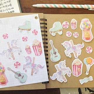 Happy hour / hand-drawn wind illustration Set of accounting stickers