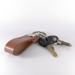 Key ring leather leather long coffee