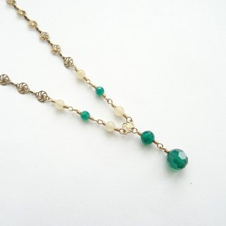 ::A Pinch of Glitter:: Green Agate, Yellow Jade Filigree Antique Bronze Necklace