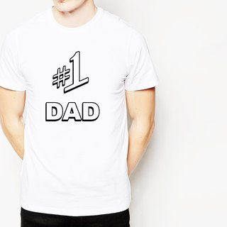 # 1 DAD-2 short-sleeved T-shirt -2 color dad first Father's Day Daddy Day text