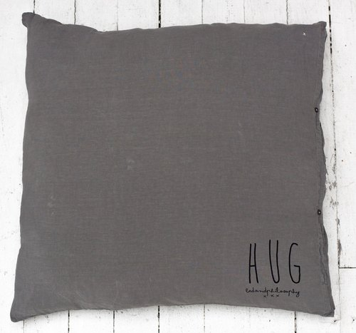 Bed and Philosophy - 100% linen pillow - Hug series (gray blue / 80X80cm)