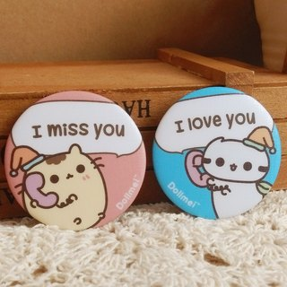 Dollmei badge I love you I want you _ _ _ cute pink cat 3.2cm
