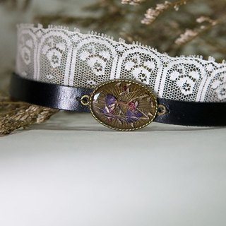Forget Me Not Royal - Lace Leather Choker