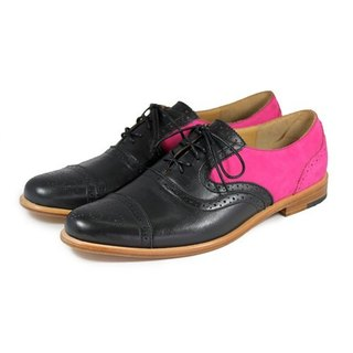 Poppy M1093B Black Fuxia leather oxford shoes