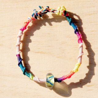 Valentine's Day gift colorful hand woven rope twist silk wax line - Sunshine Glass + gradient layer of wax wire (wire can pick the color)