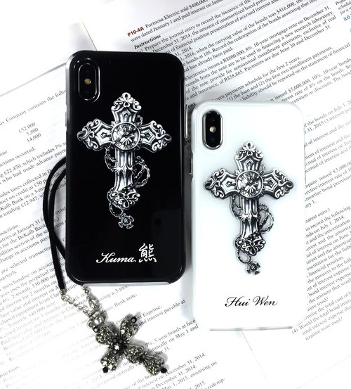 Tattoo Cross with Customized name, iPhone 8 plus 3D embossed printing