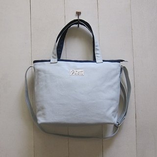 Macaron Collection: Canvas Tote - Medium size ( Zipper Closure W/ Adjustable Strap) Silver Gray+ Navy