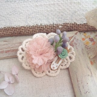Garohands chiffon flower brooch small berries white rabbit feel F032 Gifts