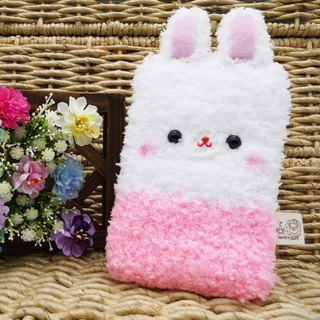 Marshmallow animal cell phone pocket - White Rabbit