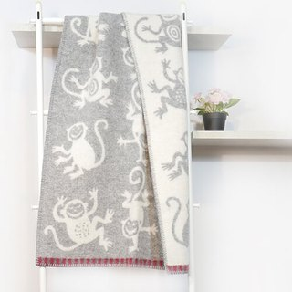 Warm blanket / baby blanket Sweden Klippan organic wool blanket - little apes (grey)