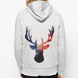 Cosmic Stag Rivet Hooded Jacket - Gray Galaxy deer Tree Natural Animals Environmental Green Art Design Fashionable Simple Simple