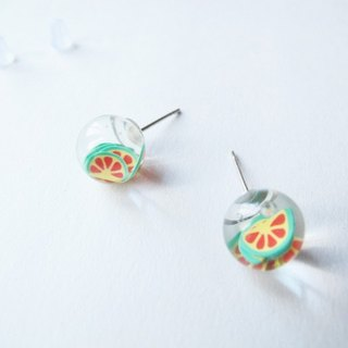 *Rosy Garden*Sour orange water inside glass ball stud earrings