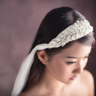 """Being of Love"" multipurpose bridal headdress / Rhinestone + Swarovski beads white chiffon headband / veil Replacement Fa ornaments"
