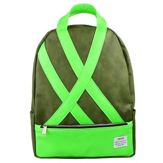 AMINAH-fluorescent green and green backpack [am-0251]