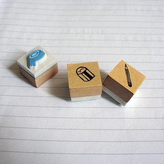 Little things} hand carved rubber stamp _ hardworking group of people 3