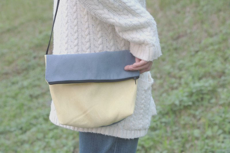 MaryWil Colorful Shoulder Bag-Grey Blue/Yellow
