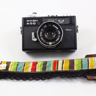 Hand-made monocular Class SLR camera strap decompression Camera back rope --- black lace rainbow straight Terms