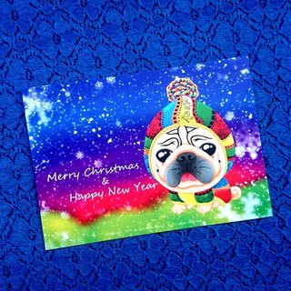 Postcard-Merry Christmas & Happy New Year Pug-03