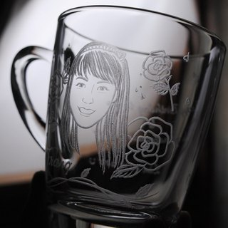 320cc [Portrait] made sweet rose wind (Realistic Version) Rose girl portrait mug customized gift custom lettering