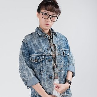 Vintage denim jacket | DE801 | Snow Brush Color | Unisex