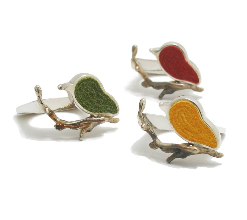 手工925銀紅色小鳥戒指,手工純銀戒指