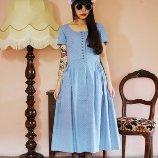 F1114 [Austrian traditional costumes] (Vintage) Floral vintage blue cotton dress (wedding / picnic / party)