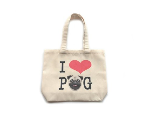 [ YONG ] I Love Pug Canvas Tote
