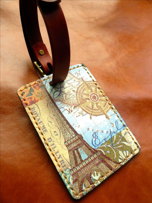 Vegetable tanned leather luggage tag / free play English name