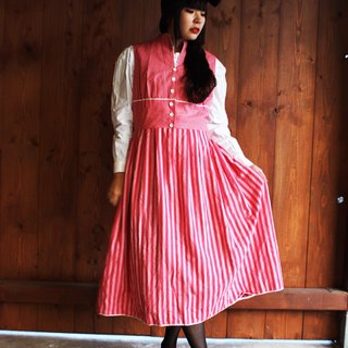 F849 (Vintage) red stripe cotton vest dress (traditional Austrian Dirndl)