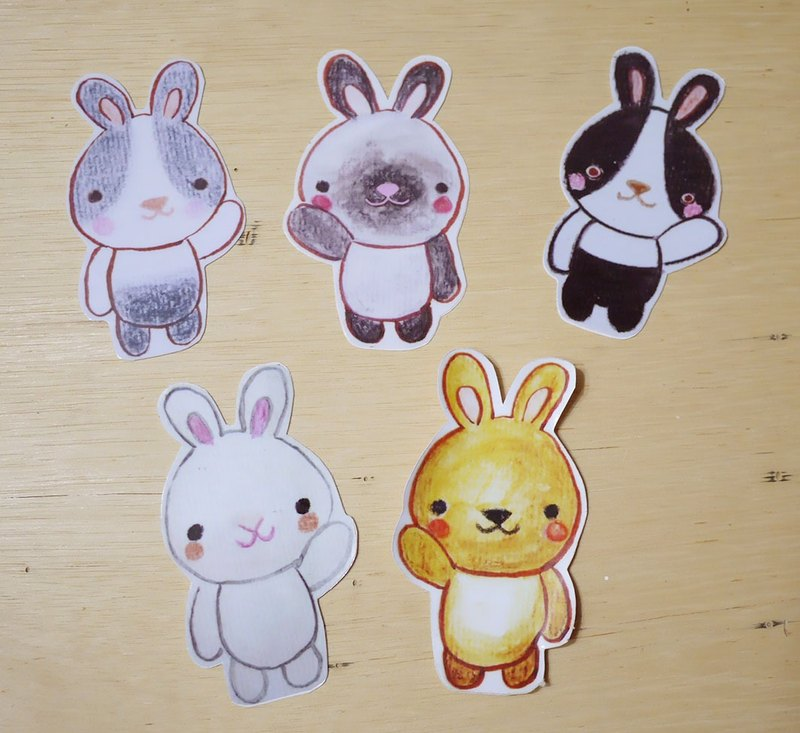 Hand-painted illustration style completely waterproof sticker Hi Rabbit has 5 white rabbits black and white dodge rabbit gray white dodge rabbit siamese rabbit brown rabbit
