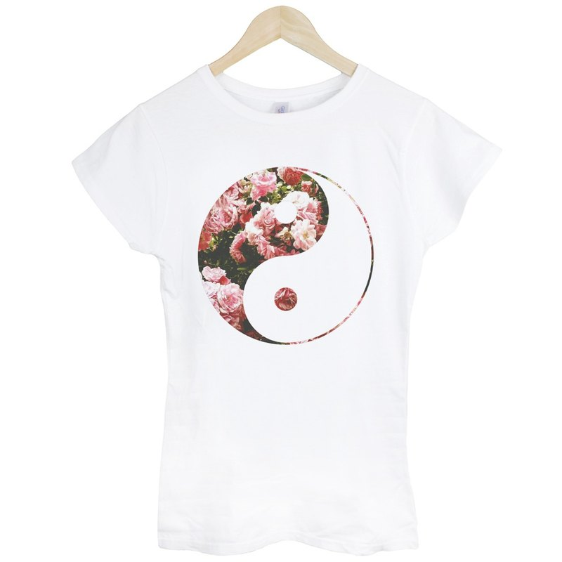 Ying Yang-Flower Girl T-shirt - White Yin Yang Tai Chi Wen Qing took the galactic cosmic triangle fashion design own brand fashionable round