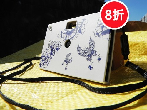 (8-fold) Paper Shoot paper paper camera can shoot creative digital camera Lomo retro exchanging gifts included 4GB SanDisk MicroSD memory card four kinds of effects Taiwanese Brands (ink Series - Purple Butterfly)