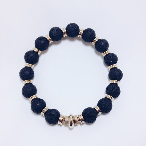 LOOPORIGINAL meteorite Volcanic brass bracelet [Bean series of large pieces of the original stone]