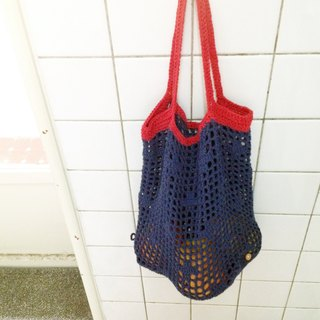 Grocery wind mesh bag navy blue red