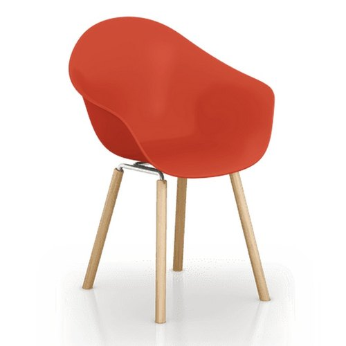 TOOU ArmShell Chair with oak legs (red)