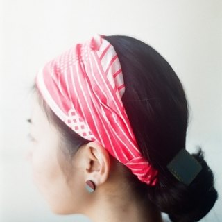 Towel hair band fluorescent pink