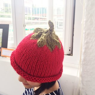 Hand Knit Strawberry Beanie Debbie for adult