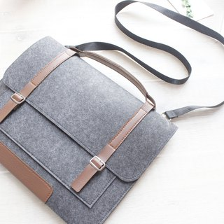 Genuine Pure Handmade Dark Gray Felt Microsoft Computer Case Felt Set Pen Bag Computer Case Surface Pro (2017) & Keyboard (Customizable) - ZMY049DG11A